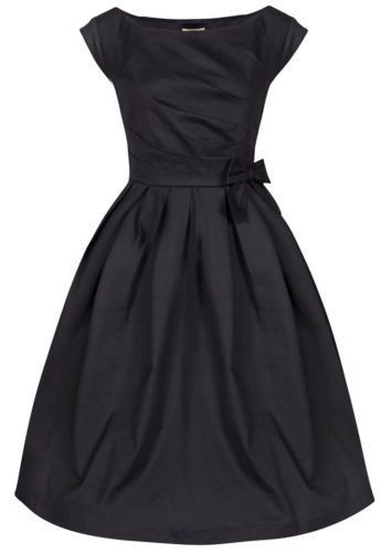 "UK Label Lindy Bop 'Lucille' in BlackAN ELEGANT DRESS MADE FROM GOOD QUALITY MEDIUM WEIGHT STRETCH COTTON FABRIC, SUITABLE FOR SPECIAL OCCASIONS OR CLASSY EVENING WEAR BROUGHT TO YOU BY LINDY BOP.DRESS FEATURES:Wide flared skirt, almost a full circle.Lining to bodice section.Large scooped neckCap sleevesPleated bodiceBox pleated skirt with bow detail to the waistHidden side zip.A 26"" petticoat will be required to create the look pictured.  Petticoats sol..."