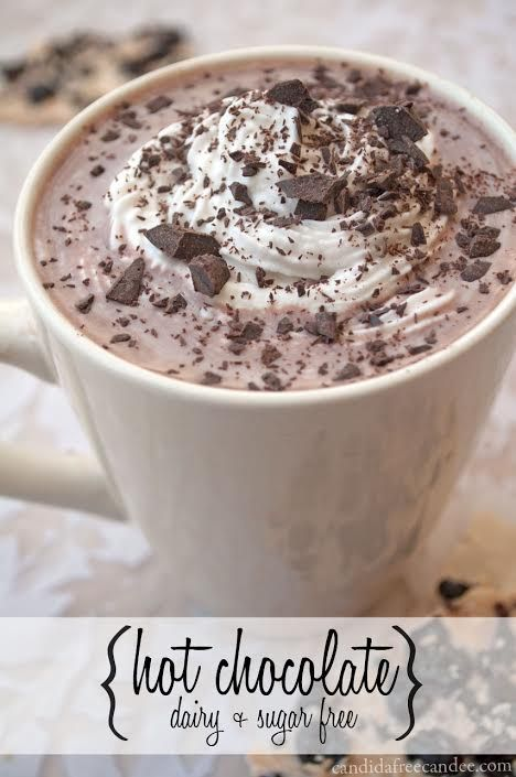 Trying to eat healthier?  This Homemade Hot Chocolate Recipe is dairy and sugar free! Say BYE BYE to Swiss Miss and the artificial ingredients and loads of sugar and make this instead. Top with Whipped Coconut Cream or Homemade Marshmallows and Chocolate Chips for an extra special treat.