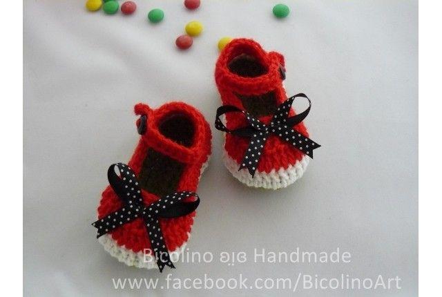 Scarpine ad uncinetto anguria - watermellon crochet baby shoes