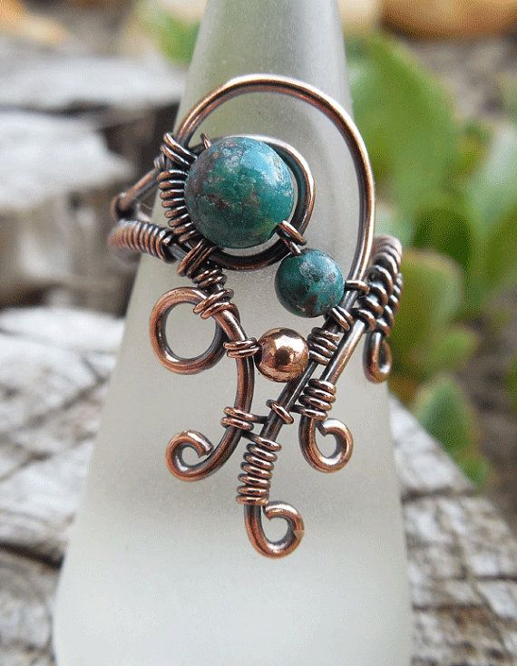 Wire wrapped ring with Blue Chinese Turquoise by Kissedbyclover https://www.etsy.com/listing/229467545/wire-wrapped-ring-boho-ring-bohemian?ref=shop_home_active_1