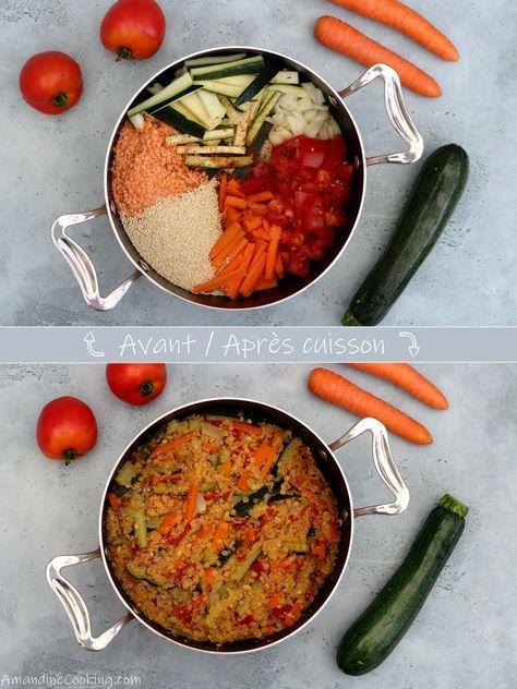 Una pentola di quinoa, lenticchie di corallo, carota, zucchine e pomodoro