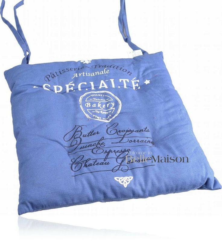 Poduszka na krzesło Specialite niebieska - BelleMaison.pl