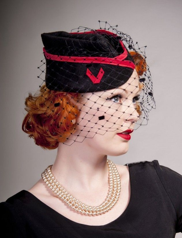 Black 1940s Style Red Trim Military Hat by Rose Patricia Millinery
