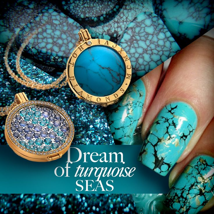 Dream of turquoise seas. #Emozioni #Necklace #Coin #Jewellery #Nails #Turquoise #Gold #HotDiamonds