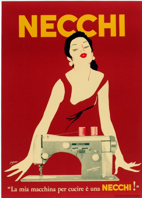 ORIGINAL vintage advertising poster for Necchi Sewing Machines