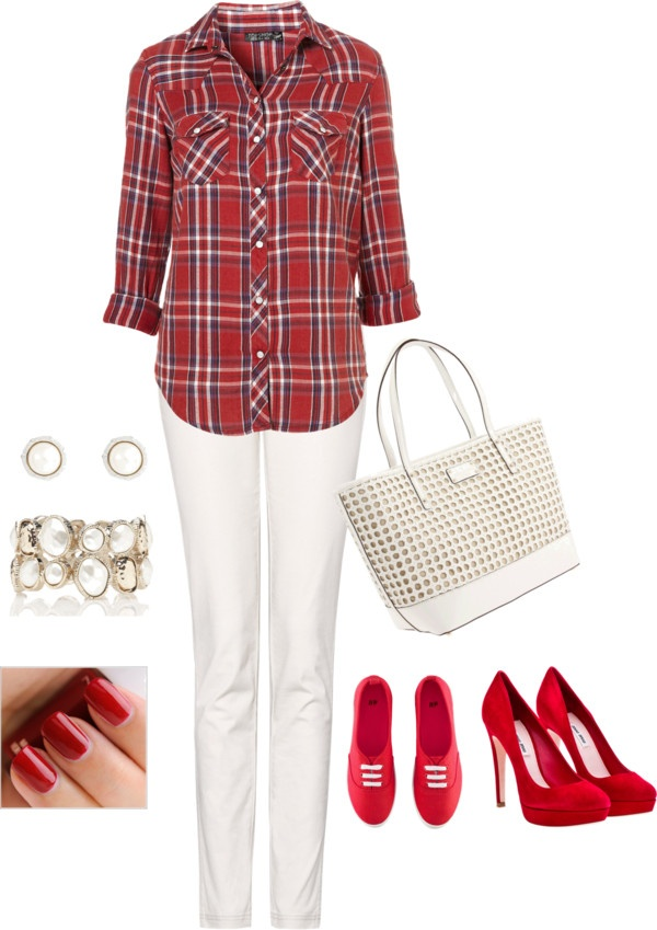 Lumberjack outfit. Red and White