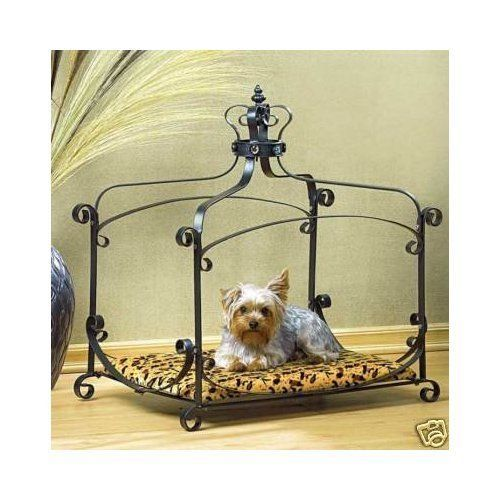 Dog Cat Bed Female Canopy Luxury Furniture Crown Princess w/ Iron Frame Black #GiftsDecor