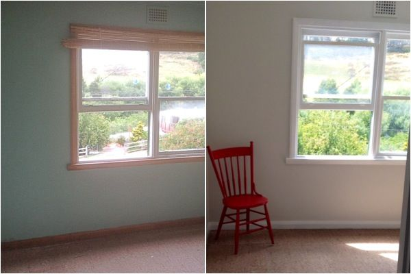 My before and after of our beautiful sunny room :)  Coat of paint magic