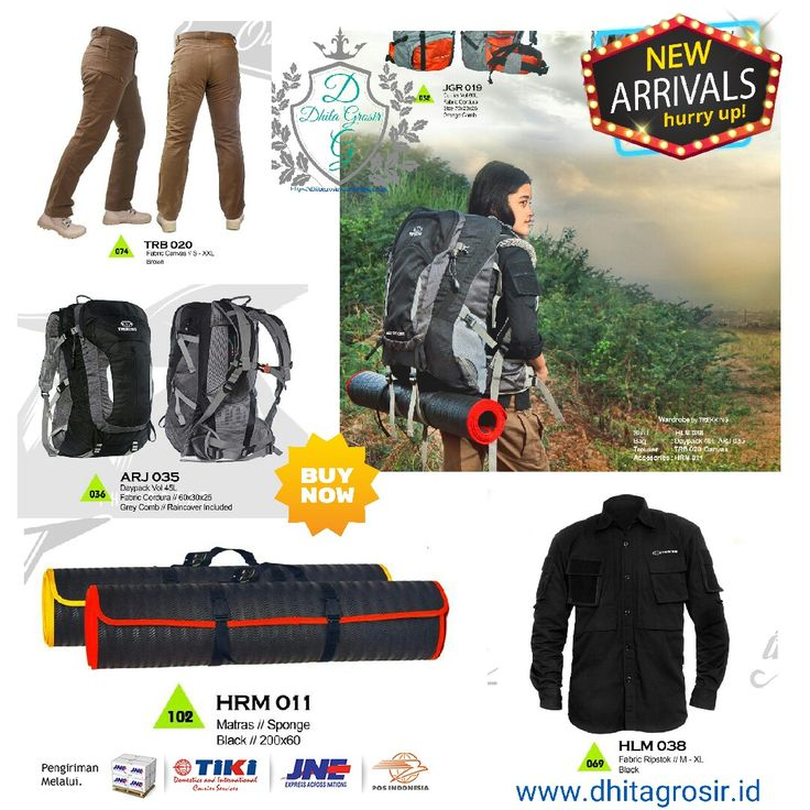 Shirt HLM 038 IDR 231.231 Bag Daypack 40L  ARJ 035 IDR 512.012 Trouser TRB 020 Canvas IDR 313.814 Accessories HRM 011 IDR 93.593