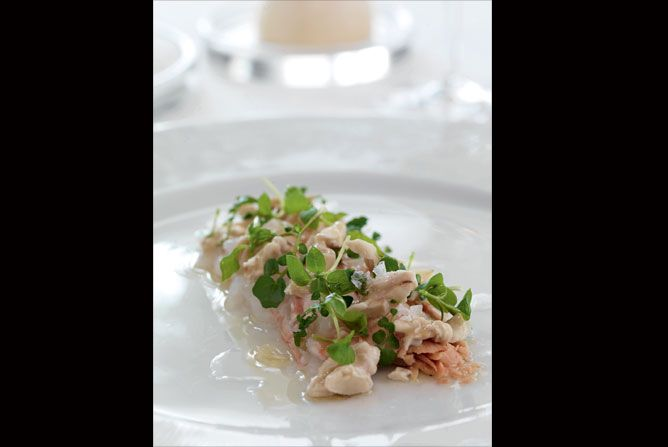 foie gras and langustines with almonds and wild cress
