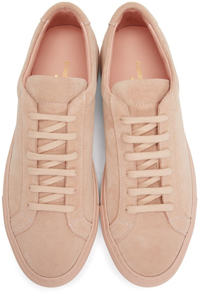 1082e5b62630 Common Projects - Pink Suede Original Achilles Low Sneakers