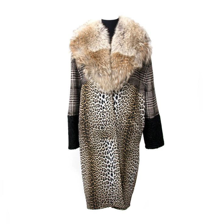 Emanuel Ungaro Fox Collar 3-Tone Tweed Leopard Print Astrakhan Coat | From a collection of rare vintage coats and outerwear at https://www.1stdibs.com/fashion/clothing/coats-outerwear/