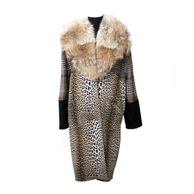Emanuel Ungaro Fox Collar 3-Tone Tweed Leopard Print Astrakhan Coat