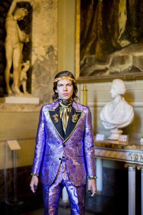 Gucci : Worn by musician James Righton from Shock Machine a gold