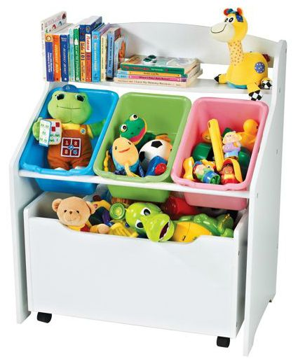 Toy And Book Organizer Storage Unit With Rollout Box