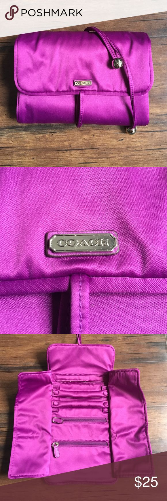 Coach Jewelry Travel/Organizer Case Coach Jewelry Travel/Organizer Case ✈️ Like new condition. No stains, tears, or thread pulls. Inside contains two zippered compartments, two ring/bracelet holders (removable) and one large pockets with hooks. Ties close. Coach Accessories