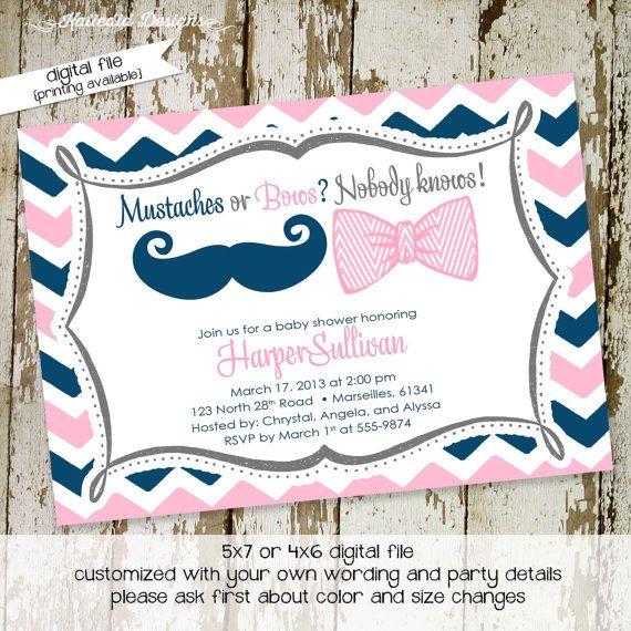 gender reveal invitation gender neutral baby shower mustache or bows chevron twins baby sprinkle item shabby chic baby shower invites