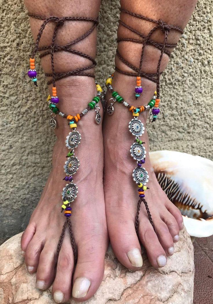 DAISY SUNFLOWER Barefoot sandals -Coachella Festival - cavigliera - stile hippie, bohemien, gipsy, tribal, calzature crochet, handmade Italy di ItalianShopVintage su Etsy