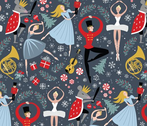 I love this fabric because IT SHOWS THE NUTCRACKER DANCING.  That's what I want him to think of when he thinks of the nutcracker.