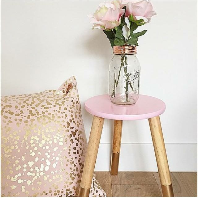 Kmart hack. Painted the white stool to pink & metallic