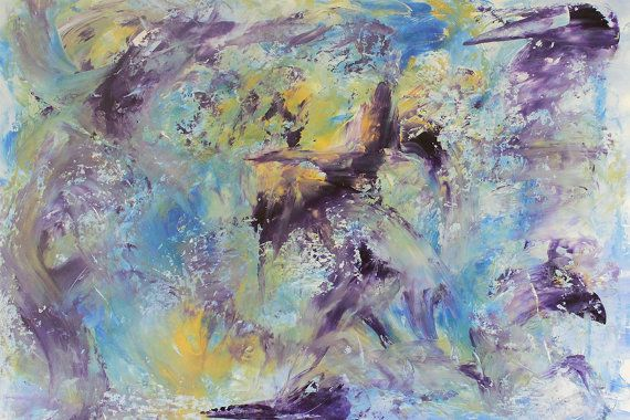 Gemälde lila Malerei blau Malerei abstrakt von DreamingArtDE