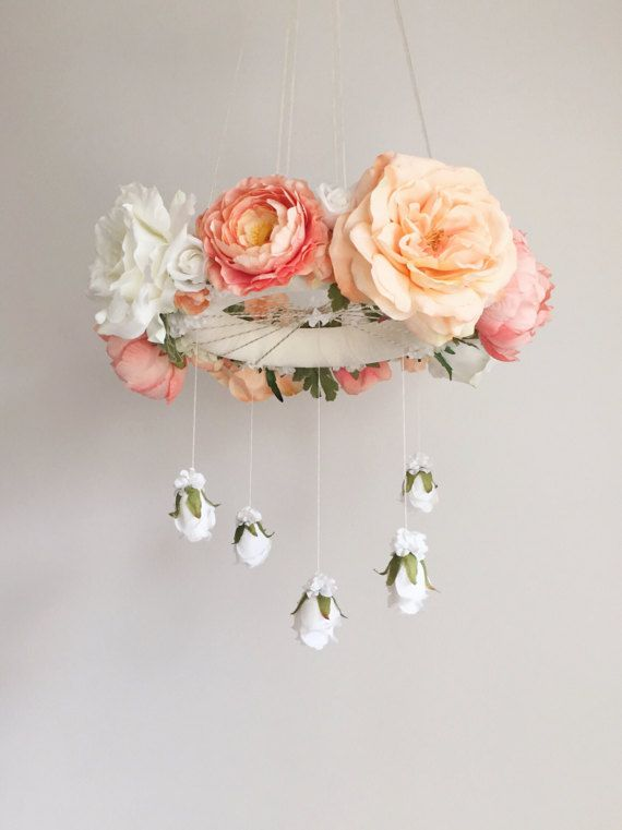 Made to order: Whimsical Coral & Peach Floral Hanging Chandelier / Flower Crib Mobile  Why settle for average when you can so easily create a true statement piece for your room or event? With its delicate blooms and vintage-like appeal, this floral chandelier easily becomes the focal point as a hanging centerpiece regardless of location displayed. The flower mobile can transition quite effortlessly between nursery, bedroom, birthday party and photo shoot, all the while enticing and d...