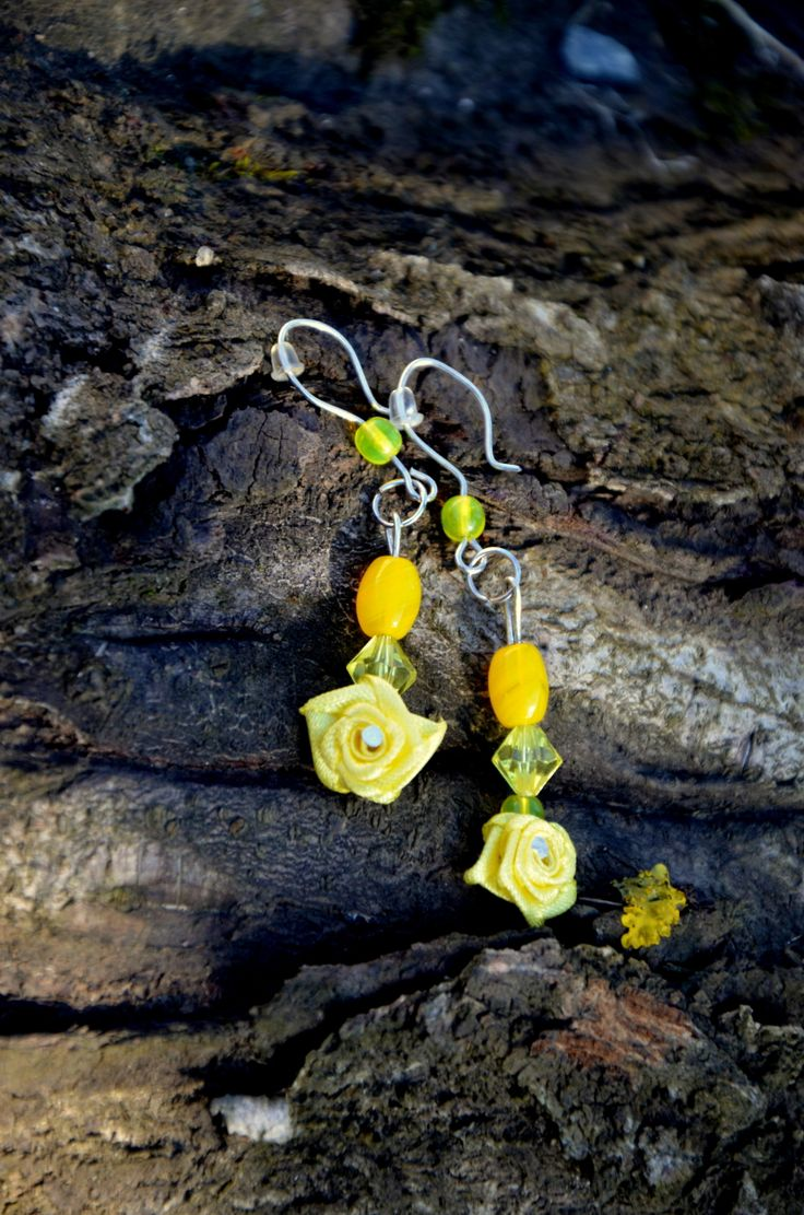 Žluté růže-náušnice
