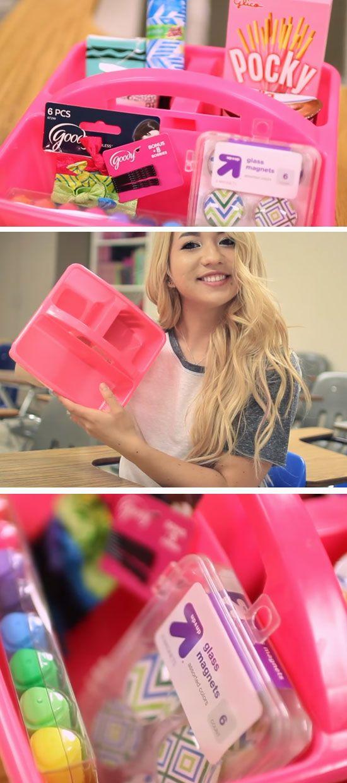 Random Essentials Holder | 15 DIY Locker Organization for School Girls