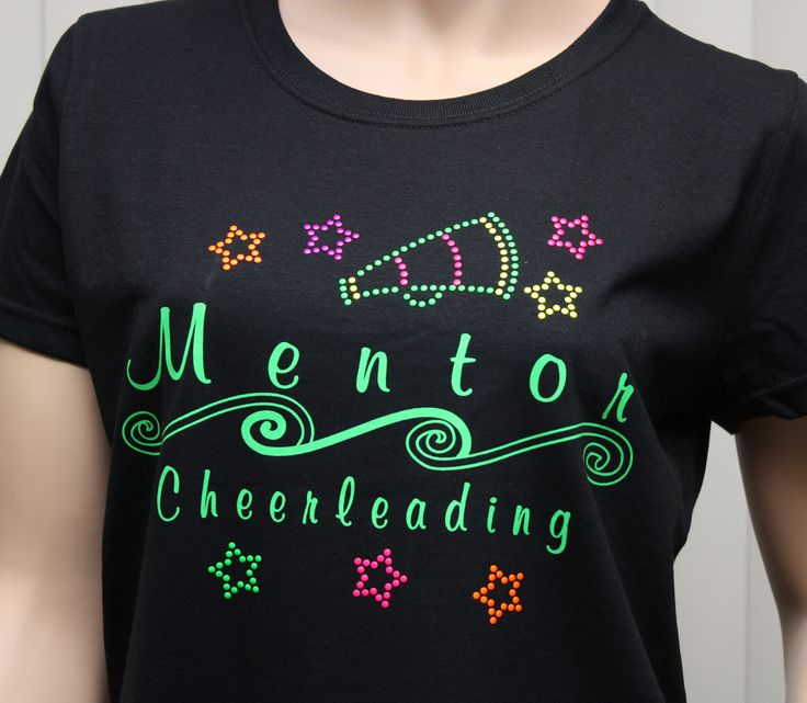 cheerleading t shirt design with rhinestone stars and megaphone qch 102