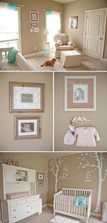 okay, I love this! You wouldn't have to paint or change the furniture whether it's a baby boy or girl! just change the bedding and a few decorations and you could change the gender of this room so easily! cute nursery