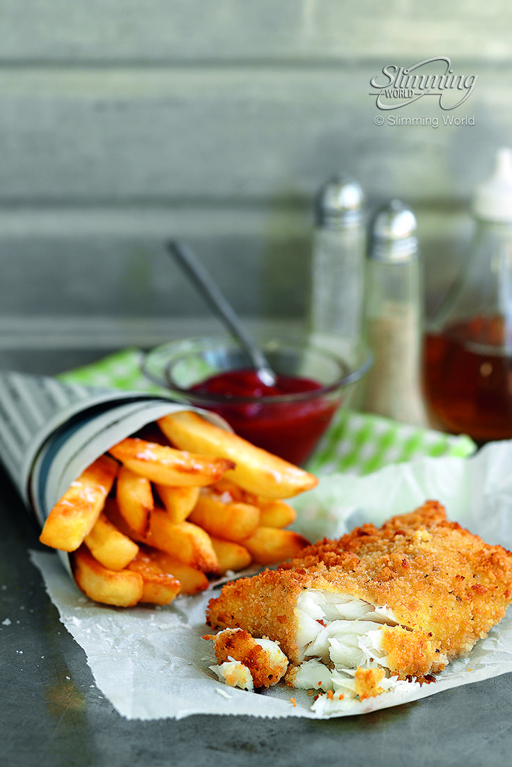 This delicious fish and chips dish is slimming-friendly because it's oven…