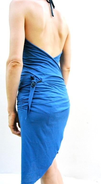 Organic Cotton Wrap Dress  Blue by ELKandINA on Etsy, $62.00