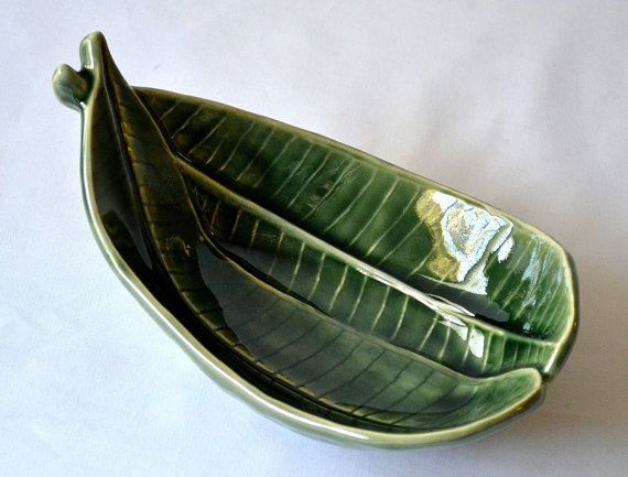 "Ceramic LEAF SHAPED PLATTER Plumeria Small 8"" Green Veins Asian Microwave , Oven & Dishwasher Safe ~ New ~ U.S.A. Seller ~ Ships from U.S.A."