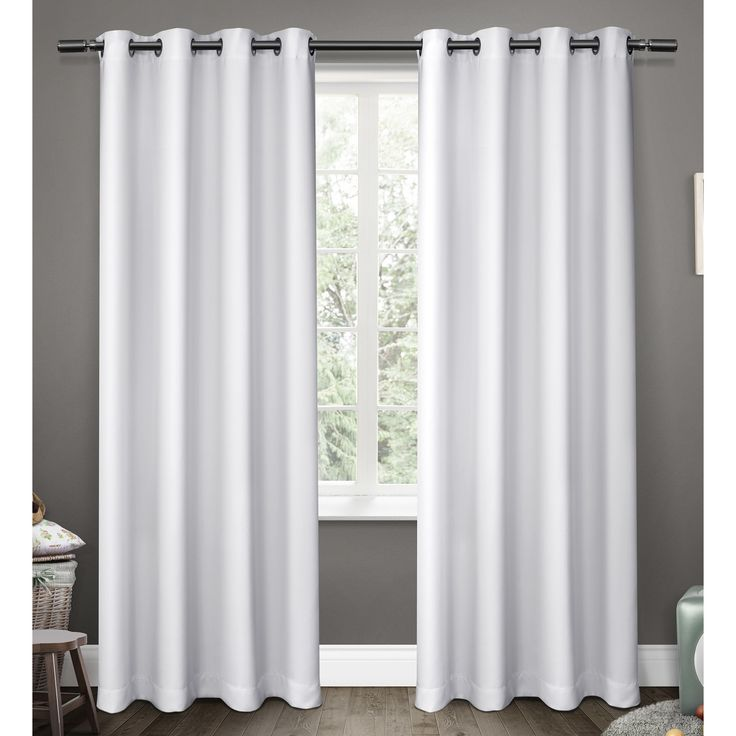 exclusive home sateen blackout kids grommet top window curtain panel pair white 52 inch x 84 inch