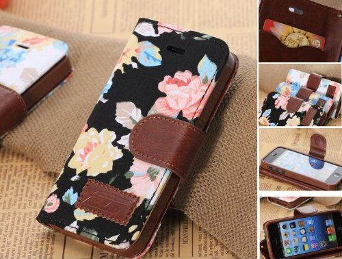 Elegant Flower and Deluxe Book Style Folio PU Leather Wallet with Magnet Design Flip Case Cover, Credit Card Holder for iPhone 5 / 5S / 5C a...