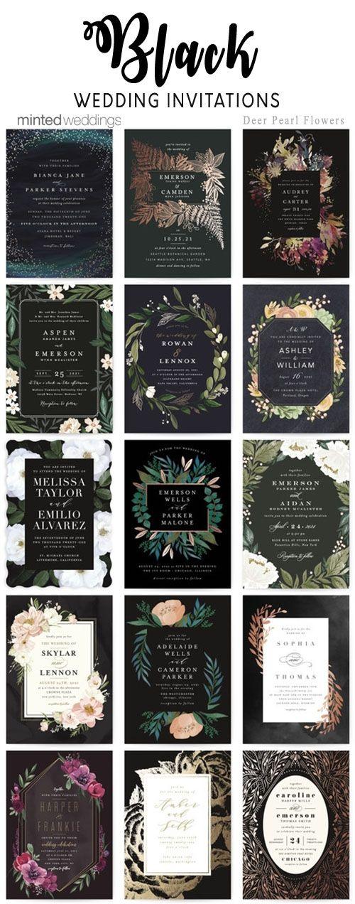 Minted black wedding invitations #weddings #weddinginvitations #weddingcards #dpf #deerpearlflowers