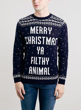 Navy Slogan Christmas jumper