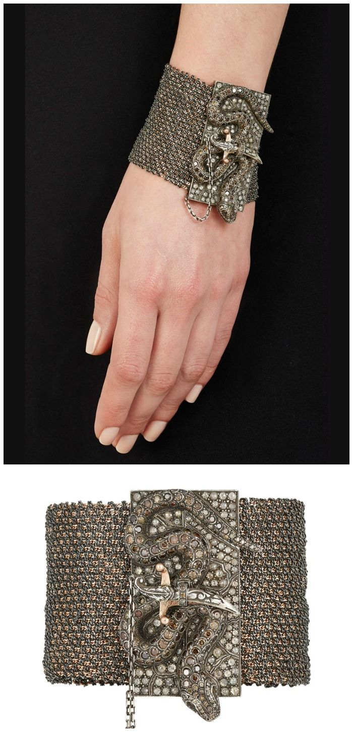 Sevan Biçakçi snake and dagger bracelet in rose gold and oxidized silver with diamonds.