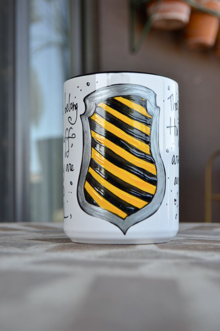 Made to Order - Hufflepuff House Cup - Hogwarts Houses - White, Yellow, Black - Pottermore - Harry Potter - Loyal, hardworking - Crest by OpheliasGypsyCaravan on Etsy https://www.etsy.com/ca/listing/231431238/made-to-order-hufflepuff-house-cup
