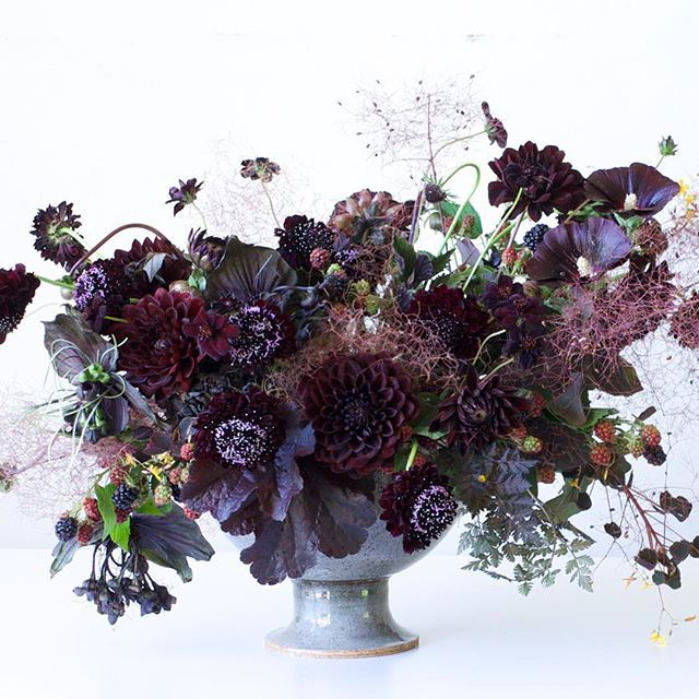 Black floral arrangement by Tulipina | blackberries, dahlias, scabiosa.