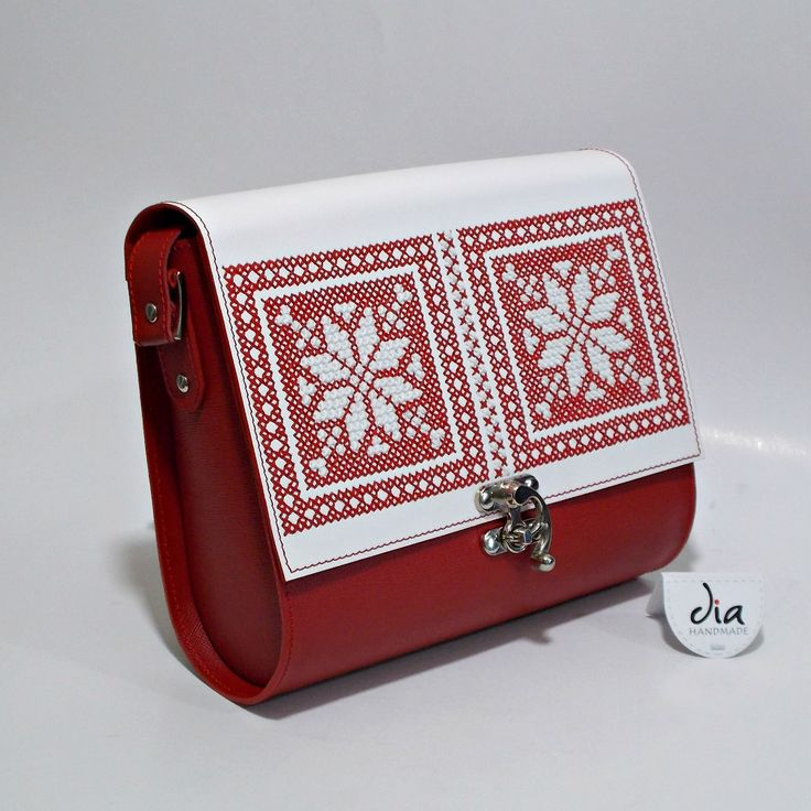 Handmade leather bag, manual embroidery , romanian traditional motif