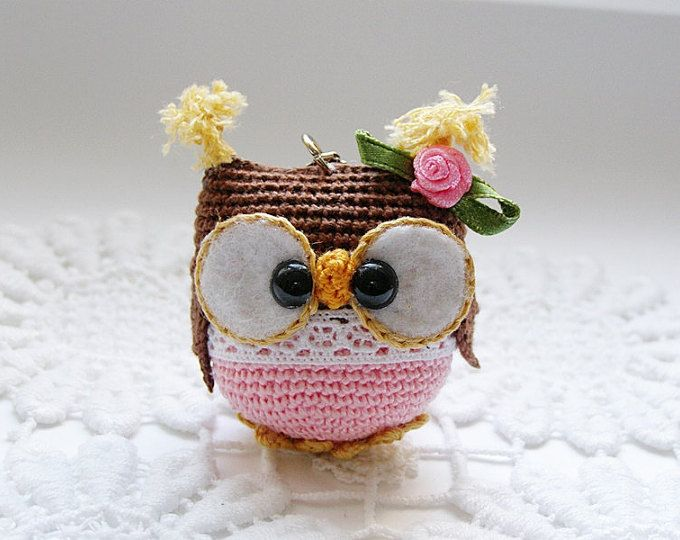 Hello ! Loves owls by me . Keychain is handmade from cotton yarn, stuffed by soft fiber fill.  measurements:  owl 5 x 5 cm  total length 10 cm  Warning !!! This owl is not recomended for children under 3 years old due to containing small parts!!!  Would you love this owl key ring in other colors? Please contact me for a custom order or if you have more questions You can also follow me on: https://www.facebook.com/natasha.widmer.9   smoke-free, pet-free home.  Thank you for visiting ! Natasha