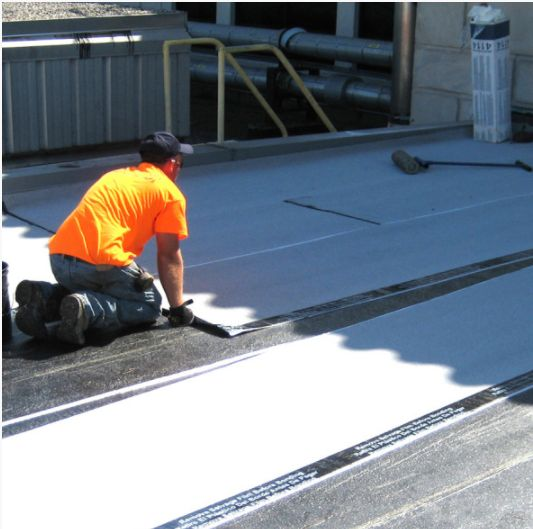 Blending polymer and filler, such as fiberglass, carbon fiber and rubbers, creates a TPO single-ply membrane that is resistant not only to UV rays, but also to ozone and chemical exposure.  The Roofers staff professional and seasoned installers of all of our TPO roofing systems.