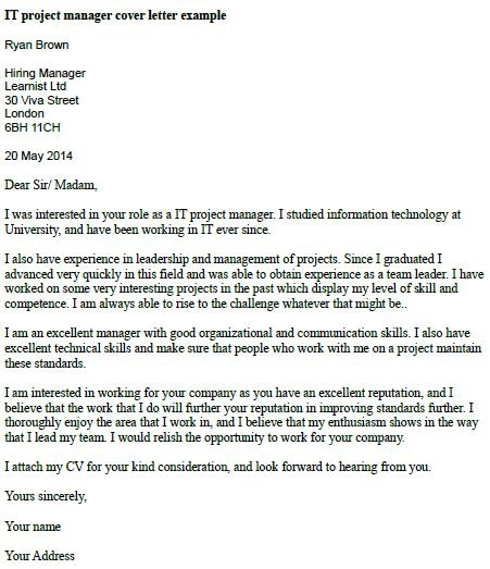 it project manager cover letter example - Manager Cover Letter Sample