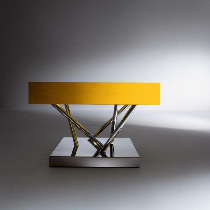 SA 04 - Low table with polished steel base, Maplewood drawer painted with yellow aniline and extra-clear crystal top, designed by Sottsass Associati | Laurameroni