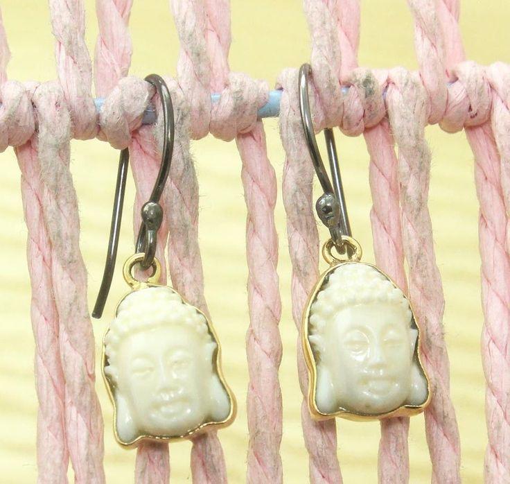 Zj6749 Sale! Lemon Carving Buddha Gold Plated & Black Rhodium Earring Jewelry #Handmade #DropDangle
