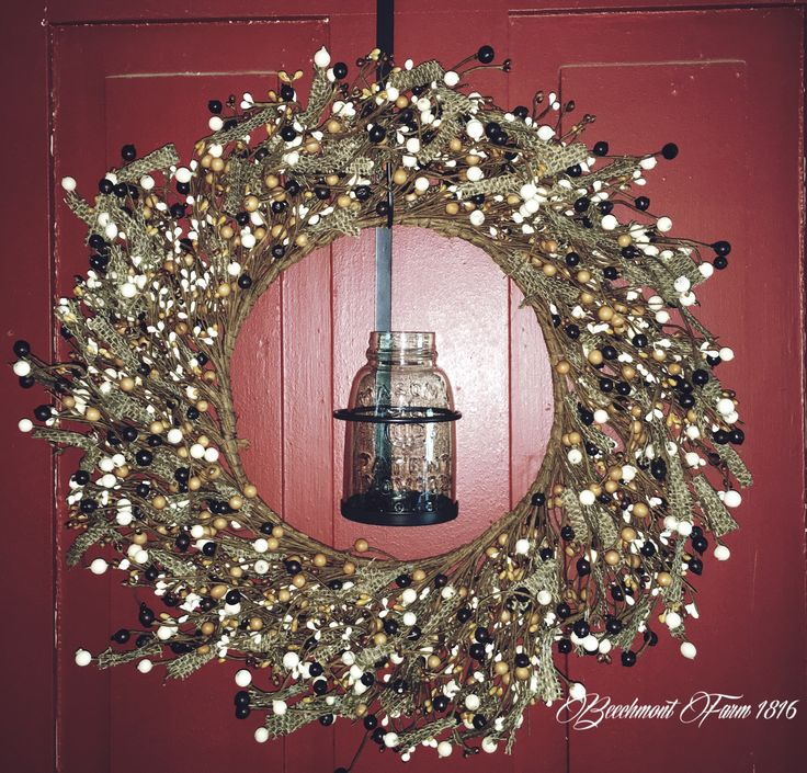 "Welcome guests to your porch with this charming burlap and berry wreath. Large Burgundy and Cream Mixed Berry with Burlap Wreath 19"" Diameter (10"" Inner Rim Diameter) Mason Jar wreath holder not inclu"