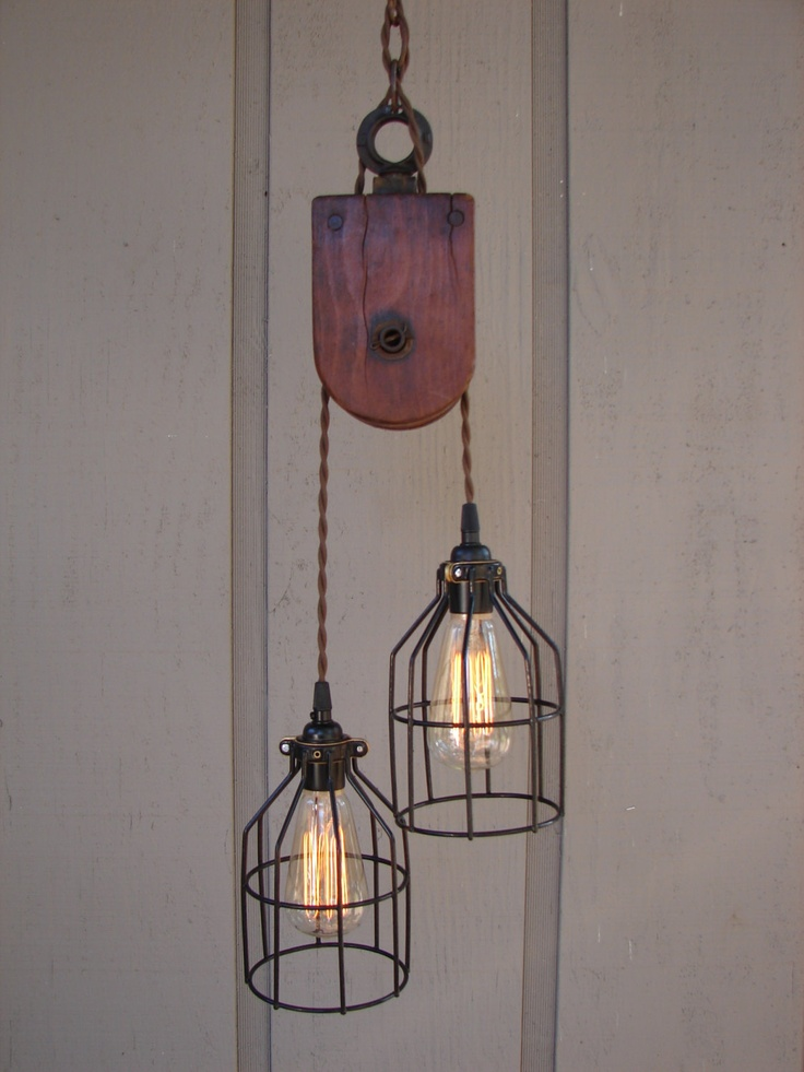 Industrial Wooden Pulley Pendant Light