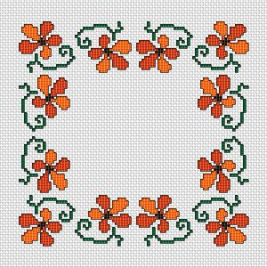 Floral Border, free cross stitch pattern from Alita Designs