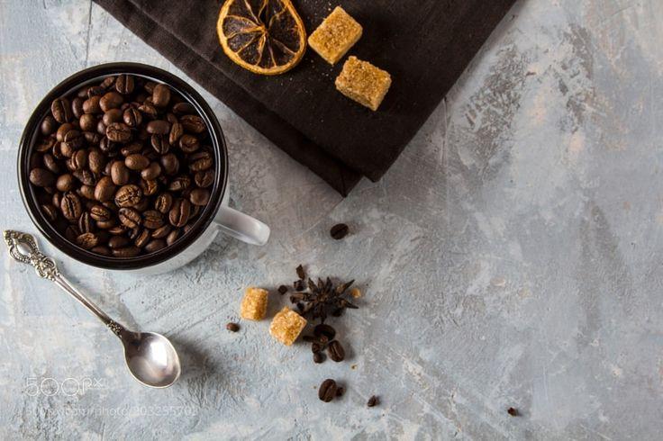 Coffee grain mug rusty vintage background by strelov